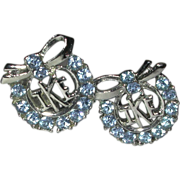 "REDUCED Silver Tone Faceted Blue Rhinestone Round Clip Earrings ""Ike"" Dwight Eisenhower 19"