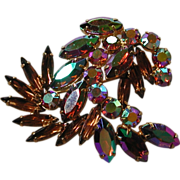 Topaz Colored Faceted Rhinestone Aurora Borealis Floral Dimensional Pin Weiss 1950s marked