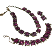 Silver Gold Tone Fuchsia Confetti Lucite Purple Link Necklace Bracelet Clip Earrings Parure Co