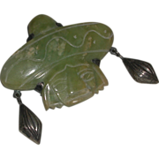 Green Carved Mexican Jade Onyx Mayan Face Pin Brooch Sterling Mexico marked
