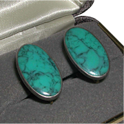 Turquoise Blue Oval Cabachon Sterling Silver Screw Back Earrings Native American marked