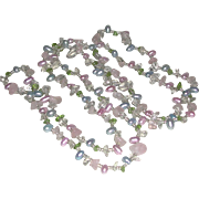 Crystal Beads Quartz Chips and Freshwater Pearl Necklace 42 inch Length