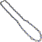 Blue White Opalescent Fry Glass Bead Necklace Old Sterling Clasp 23 Inches marked