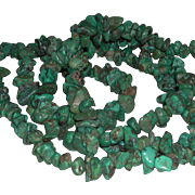 Tumbled Turquoise Chip Necklace Native American 33 Inches Long
