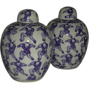 SALE Two Blue White 100 Boys Lidded Jars Kangxi Marks China