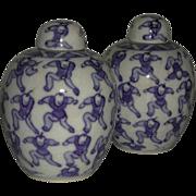 SALE Two Blue White 100 Boys Lidded Jars Kangxi Marks China