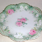 """Flowered RS Prussia Handled Cake Plate marked """"Red Mark"""" early 1900s"""