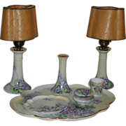 Limoges France Bavaria Hand Painted Dresser Vanity Set 7 pieces Violet Motif marked
