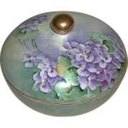 Hand Painted Porcelain Three Piece Hair Receiver Violet Motif Suffragette Colors La Seynie Lim