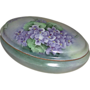 Hand Painted Porcelain Dresser Vanity Box Violet Motif Suffragette Colors Latrille Freres Limo