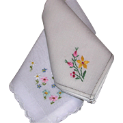 Two Vintage Embroidered Yellow Pink Blue Green Floral Handkerchiefs Hankies