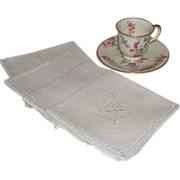 Vintage White Linen Embroidered Luncheon Tablecloth and Napkins Set of Four