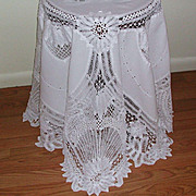 REDUCED Battenberg Lace Embroidered Round 70 inches White Tablecloth