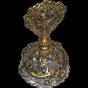 SALE PENDING Ornate Vintage Vanity Filigree Floral Design Glass Perfume Holder c. 1950s