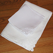 White Belgian Linen Battenburg Lace Rectangular Large Tablecloth Set 10 Napkins