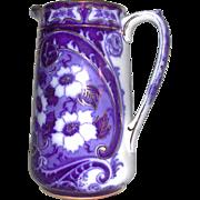SALE Flow Blue Gold Accent Flower Milk Jug Pitcher Charles Meigh Staffordshire 1800s