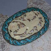 Large Enamel Carved Bone Winged Bird Floral Design Pin Brooch marked China