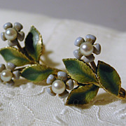 SALE Enamel Floral Screwback Earrings Krementz marked c. 1950s