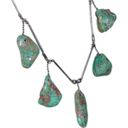 REDUCED Five Nuggets Turquoise Sterling Native American Necklace