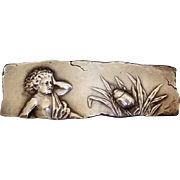 Antique Sterling Pin of Crying Child c 1880s