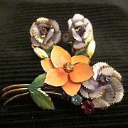 SALE Austrian Enamel Floral Crystal Bouquet Brooch/Pin Earrings