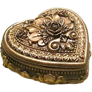 SALE Stunning Rococo Designed Bronze Heart Shaped Trinket Box