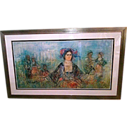 "REDUCED Signed HIBEL (Edna Hibel 1917-2014) ""Greece"" - 35"" x 60"" Lithograp"