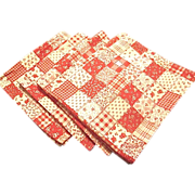 Four (4) Vintage Red/White Faux Quilt Designed Picnic Napkins