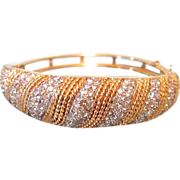 SALE Vintage Pave Crystal Rhinestone Bangle Clamper Bracelet