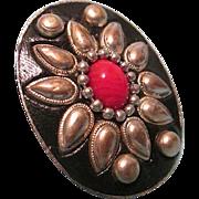 SALE Large Vintage Ethnic Adjustable Ring Floral Motif with Red Cabochon Center