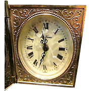 SOLD Whimsical Seth Thomas Travel Book Alarm Clock - Mother of Pearl Face - Scroll Work - Germ