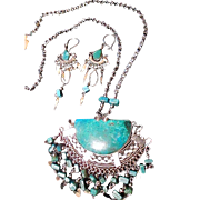 SALE Peruvian Artisan Alpaca Silver Pendant Necklace Earrings with Chrysocolla Stones