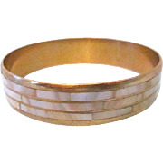 SALE Glow Brass Bangle with Inlaid Rows of White Mother of Pearl