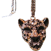 SALE Free Ship! Exotic Encrusted Black Enamel Panther Head Pendant Necklace