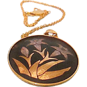SALE Free Ship! AMITA Damascene Pendant Necklace Depicting Orchid Floral - Stems - Leaves ~ Ja