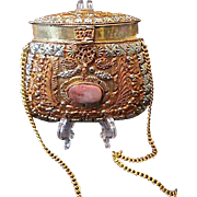SALE Exceptional Ornate Hand Crafted Metal Purse with Semi-Precious Agate Stones ~ India