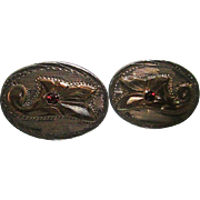 SALE Vintage Sterling/10K Mexican Floral Cuff-links with Ruby Center