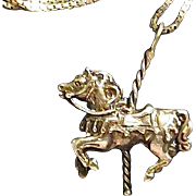 "SALE Free Ship - Delightful Sterling Silver Carousel Horse Pendant Necklace 20"" Chain"