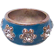 REDUCED *Free Ship - Blue Enameled Ring Encrusted with AB Clear Rhinestones - size 6