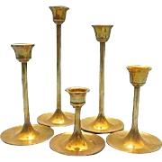6 Holiday Brass Candle Sticks Graduating in Size - 1980s