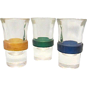 3 Sleek Vase Designed Banded Shot Glasses