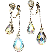 SALE Gorgeous Crystal Dangle AB Clips Reflect Colors of the Rainbow