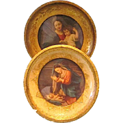 SALE Two Small Round Wood Framed Beautiful Madonna and Child Prints ~ Italy