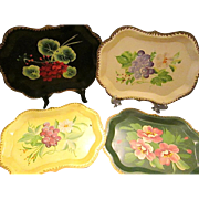 SALE Lot of 4 Beautiful Vintage Hand Painted Tole Trays