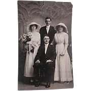REDUCED Early 1900s Small Wedding Party Real Photo Post Card