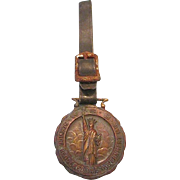 1919 WWI WSS (War Savings Stamps) Service Brass/Bronze Watch Fob with Original Leather Strap