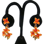 Signed 'ART©' Enameled Two-Tone Tangerine Floral Clip Earrings