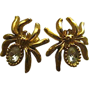 """3/4"""" Tiny Gold Tone Spider Post Earrings with Clear Rhinestone Body - Avon"""
