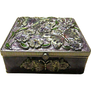Beautiful Enameled Butterfly / Floral Mirrored Jewelry Box