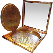MERLE NORMAN Square Gold Tone Textured Compact - Made in Germany